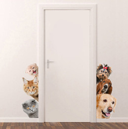 Cute Cat deCals online shopping - 3D Cat Dog Door Wall Stickers Removable Sitting Room Porch Bedroom Wall Decals Animals Mural Art Wallpaper Cute Funny Pet Wall Stickers