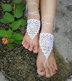 $enCountryForm.capitalKeyWord Australia - Crochet white barefoot sandals Nude shoes Foot jewelry Beach wear Yoga shoes Bridal anklet bridal beach accessories white lace sandals S200