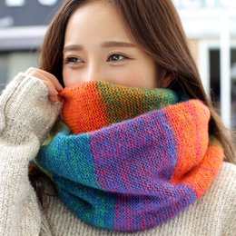$enCountryForm.capitalKeyWord Canada - Factory Wholesale Rainbow Plaid For Women Ring Scarf Female Winter Neck Scarves LIC Knitted xaile Ladies Warm Collar Wool Scarf
