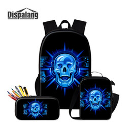 Discount kids skull school bag - Dispalang 3pcs set Children School Backpack Women Rucksack Punk Skull Printing 16 inch School Bag With Lunch Box Kids Pe