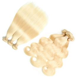 Discount bleach hair dye - Brazilian Virgin Hair 10 Bundles 613 Blonde Human Hair Extensions Straight Body Wave Bundles Peruvian Remy Hair Weave In