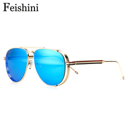 $enCountryForm.capitalKeyWord Canada - FEISHINI Designer Shop Counters Copper Superstar UV400 Sunglasses Men Aviador 2017 High Quality Eyewear Goggle Women Mirror Gold