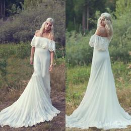 $enCountryForm.capitalKeyWord NZ - Vestidos De Novia Hippie Off the Shoulder Country Bohemian Wedding Dress A Line Beach Boho Bridal Gowns with Court Train Cheap High Quality
