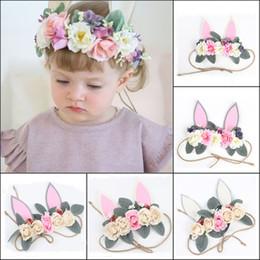 24aedb2edbd New 2018 Baby Artificial flowers Headbands Girls Rabbit ears hairbands Cute  Bunny Crown kids Hair Accessories Photo Prop party Hairband
