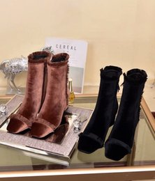 $enCountryForm.capitalKeyWord NZ - Autumn Winter Women Square Toes Solid Retro Tassel Velvet Side Zipper Ankle Boots Ladies Chunky Heel Elegent Youth Ankle Boots Size 35-39