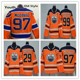 wayne gretzky yellow jersey Australia - Edmonton Oilers 2018 Youth Womens 97 Connor McDavid Jersey Kids Ladies 29 Leon Draisaitl 99 Wayne Gretzky Orange Stitched Girls Boys Jerseys