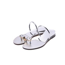 Chinese  Summer New Style Fashion Arder Crystal Set Toe Slippers Woman Flat Base A word of dragging Concise Sandy Beach Women's Shoes manufacturers