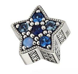 Vente en gros 100% 925 Sterling Argent Bleu Lumineux Étoiles Charme Cristaux Multicolores Perles Fit Pandora Charmes Bracelet Diy Bijoux