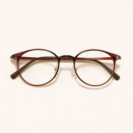 9fb46beb63 Round Retro Ultra-light Slim Tungsten Carbon steel Prescription Frame  Student Decoration Myopia Eyeglasses Eyewear Big face