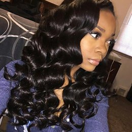 Discount brazilian deep curly human hair short - Cheap 100% Human Hair Lace Wig Natural Black Deep Wave Long Wigs for Black Women 150% Density Heat Resistant Wigs with B