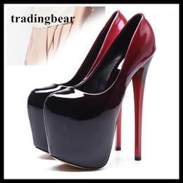 dc5637c288d Gradient Red Black Ankle Strap Platform Pumps Super High Heels Party Club  Wear 19cm Plus Size 34 To 40 41 42 43