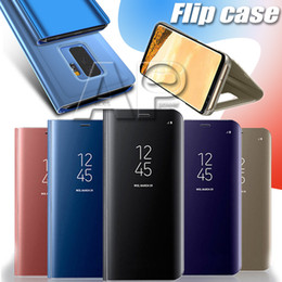 Iphone 6s Mirror Case Canada - Flip Case For Samsung S10 S9 S8 Plus S10E Note 8 Phone Holder Electroplate Clear Smart Mirror Cover For Iphone XS MAX XR