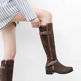 $enCountryForm.capitalKeyWord Canada - YMECHIC 2018 Autumn Winter Flock Knee High Boots Women Brown Black Block Chunky Med Heels Motorcycle Boots Ridding Botas Shoes