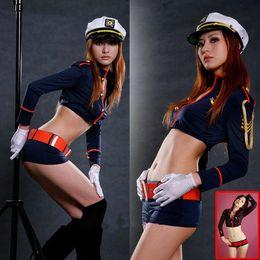 Fábrica sexy policía uniforme mujeres disfraces de Halloween juegos de rol gameclothing segunda guerra mundial sexo ejército soldados marina policía Y1892611