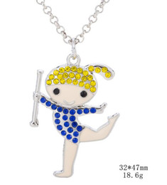 $enCountryForm.capitalKeyWord NZ - New Arrival Studded With Crystal Cartoon Cheerleader Cheer Gymnastics Girl Charms Pendant Necklace Jewelry