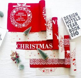 polyester table covers 2019 - Merry Christmas Table Runner Long Tablecloth Table Covers Christmas Decoration for Home New Year Table Decoration cheap