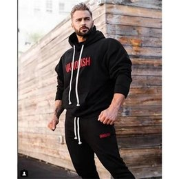 Body Fitness Suit Australia - Male Sport Suit Running Men Tracksuit Fitness Body building Mens Hoodies+Pants Sport wear Clothing Set Men's Outdoor sports suit