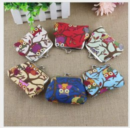 cute small wallets NZ - 2018 Fashion Women's Lovely Cartoon Owl Coin Purses Cute Owl and Trees canvas Small change Bags Mini Wallet for children Kids