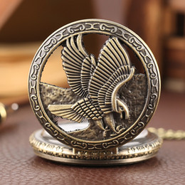 pendant digital watch necklace Canada - Antique Bronze Eagle Wings Pattern Hollow Design Pocket Watch Vintage Jewelry Necklace Pendant Best Gift For Men And Women Wholesale