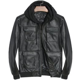Motorcycle Hoodies For Men NZ - Genuine Leather Jacket Hoodie Men Motorcycle Real Sheepskin For Men Vintage Winter Spring Hooded Casual Black Slim Fit Coats Top