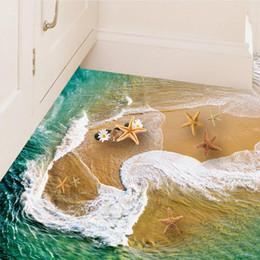 Sea Decor Australia - Beautiful Waves Swirl Stickers diy Home Decor 3d Beach Wall Sticker Sea Starfish Bathroom Floor Poster Kids Rooms Stikers SD161