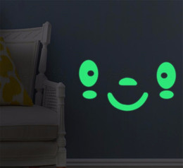 cartoon glow dark stickers 2019 - Novelty hot night wall stickers Expression A1 DIY children luminous fluorescent stickers wall decoration Glow In The Dar