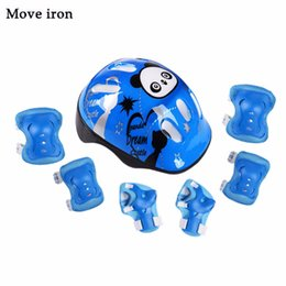 bicycles for children Australia - 7pcs Panda Kids Bicycle Helmet Elbow Wrist Knee Pads Sport Cyling Bike Helmet for Children Skateboard Mtb Riding casco ciclismo