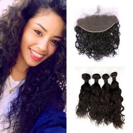 $enCountryForm.capitalKeyWord NZ - Peruvian Water Wave Lace Frontal Closure With 4pcs Wavy Human Hair Bundles Unprocessed Virgin Hair Extensions