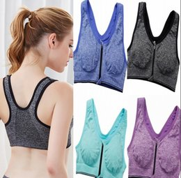 Discount sports bra tank - Front Zipper Push Up Sports Bras Women Gym Running Padded Tank Top Athletic Underwear Yoga Top Sport Bra Vest Crop Tops