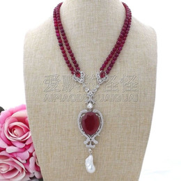 "necklaces pendants Australia - N110102 19"" 2Strands Red Onyx Necklace Keshi Pearl CZ Pendant"