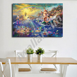 Discount floral oil paintings - Thomas Kinkade The Little Mermaid And Tramp HD Painting Wall Art Print On Canvas Living Room Decorative Picture Home Dec