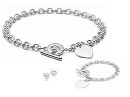 Diamond Heart Silver Bracelet Australia - Quality Celebrity design 925 Silver Ring bracelet Earrings necklace Silverware Metal Heart-shaped Jewelery Set 3pc With Box