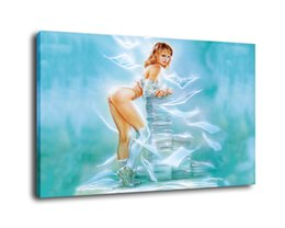 Fantasy girl painting online shopping - Luis Royo Fantasy Art A Girl And Paper Oil Painting Reproduction High Quality Giclee Print on Canvas Modern Home Art Decor