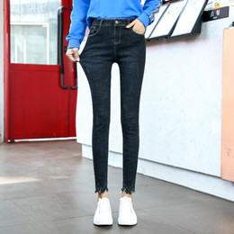 d0f7e86231f60 H 2018 Autumn Skinny Jeans Woman Tight Stretch Denim Jean Female Korean  Teenage Fashion Pants Blue Black Trouser XS 26 32