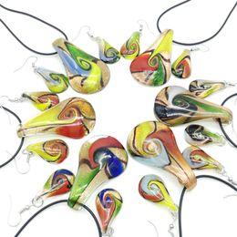 $enCountryForm.capitalKeyWord NZ - 6 sets of Lampwork Glass Murano Teardrop Pendant Earrings Mix Colors Murano Lighting Glass Necklace Earrings Jewellery Set