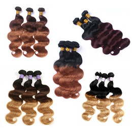 malaysian human hair 16 inch NZ - Body Wave Ombre Colored Hair Bundles Wholesale Vendors Brazilian Peruvian Malaysian Human Hair Weave Colored Body Wave 3 Bundles 12-24 Inch