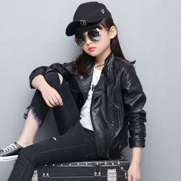 $enCountryForm.capitalKeyWord Canada - Leather Jacket Pink Black Girl Fall Coat Child Leather Clothes 2017 New Short Jacket PU Top 5 6 7 8 9 10 11 12 13Y 5