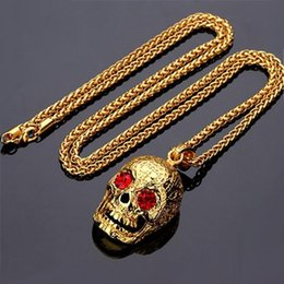$enCountryForm.capitalKeyWord NZ - Skull Pendant Necklace womens mens Hip hop necklaces 18K golden plated hiphop jewelry for men women long gold chain 75cm chains 2018 Fashion