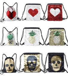 $enCountryForm.capitalKeyWord Australia - Cartoon Glitter Sequin Travel Bag Drawstring School Backpack Sport Gym Bag Outdoor Shoulder Reversible Backpack Drawstring Bag