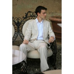Discount blue dress pants for wedding party - 2017 Latest Coat Pant Designs Beige Men Suit With Pants Tailored Casual Suits For Wedding Dress Prom Party Tuxedos(Jacke