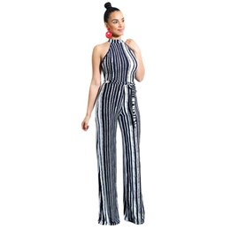 7bfe6a336ca Black White Vertical Striped Sexy Party Jumpsuit Women Cold Shoulder Sleeveless  Romper Back Zipper Bow Sash Long Overalls