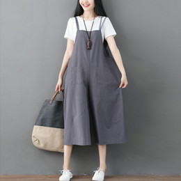 65a8abce6072 2018 Women Overalls Rompers Cotton Linen Solid Jumpsuits Dungarees Strap  Long Trousers Plus Size 3XL Casual Baggy Jumpsuit