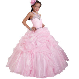 flower girls short lace dresses UK - Beading Girl's Pageant Dresses A line Tulle Lace Ruffles Beading Crystal For little girl girls Flower Girl Dress