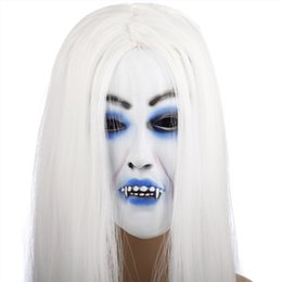 Discount scary adult clown costumes - Latex Halloween Mask White Hair Clown Face Fancy Party Costume Scary Dress Props
