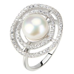 Pearl rings Prongs online shopping - Hot Sales of Piece Shiny Zirconias mm Freshwater Bread Pearl Ring Sterling Silver Fashion Jewelry Best Gift