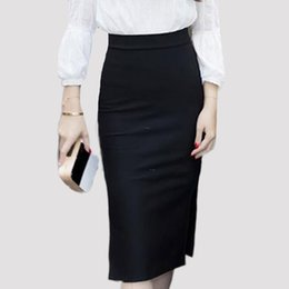 Wholesale black pencil skirt slit resale online - 2018 Fashion Skirt women Slim Bodycon Pencil Skirts High Waist slit hem Mid calf Formal Skirt