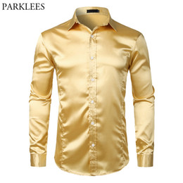 white rayon prom dress UK - Gold Smooth Silk Satin Dress Shirt Men Slim Fit Long Sleeve Chemise Homme Casual Wedding Club Party Prom Tuxedo Shirt Male S-2XL