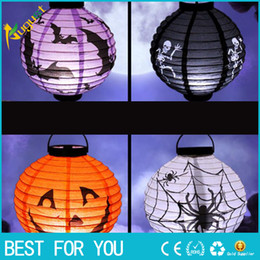 Halloween Decor Skeleton Australia - New Hot Halloween Party Decorations Scary Paper Lanterns LED Skeletons Hanging Round Lantern for Party Home Decor