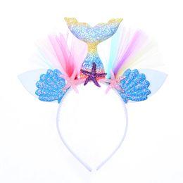 Chinese  Rainbow Shell Mermaid Plastic Headband Mesh Princess Party Dance Hairbands Hoop Festivel Headdress Hair Accessories manufacturers