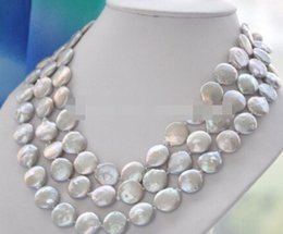 "China LL<<< 1505 14mm gray coin freshwater pearl necklace 50"" supplier 14mm coin pearls suppliers"